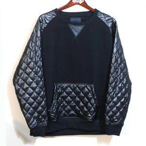 Akademiks black faux leather detailed sweatshirt